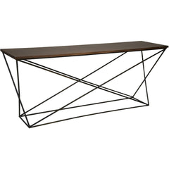 Noir - Metal X Base Console w/Walnut Top