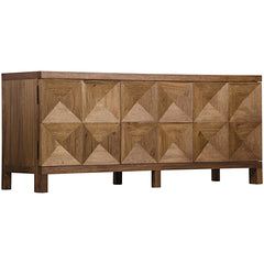 Noir - 3 Door Quadrant Sideboard, Dark Walnut