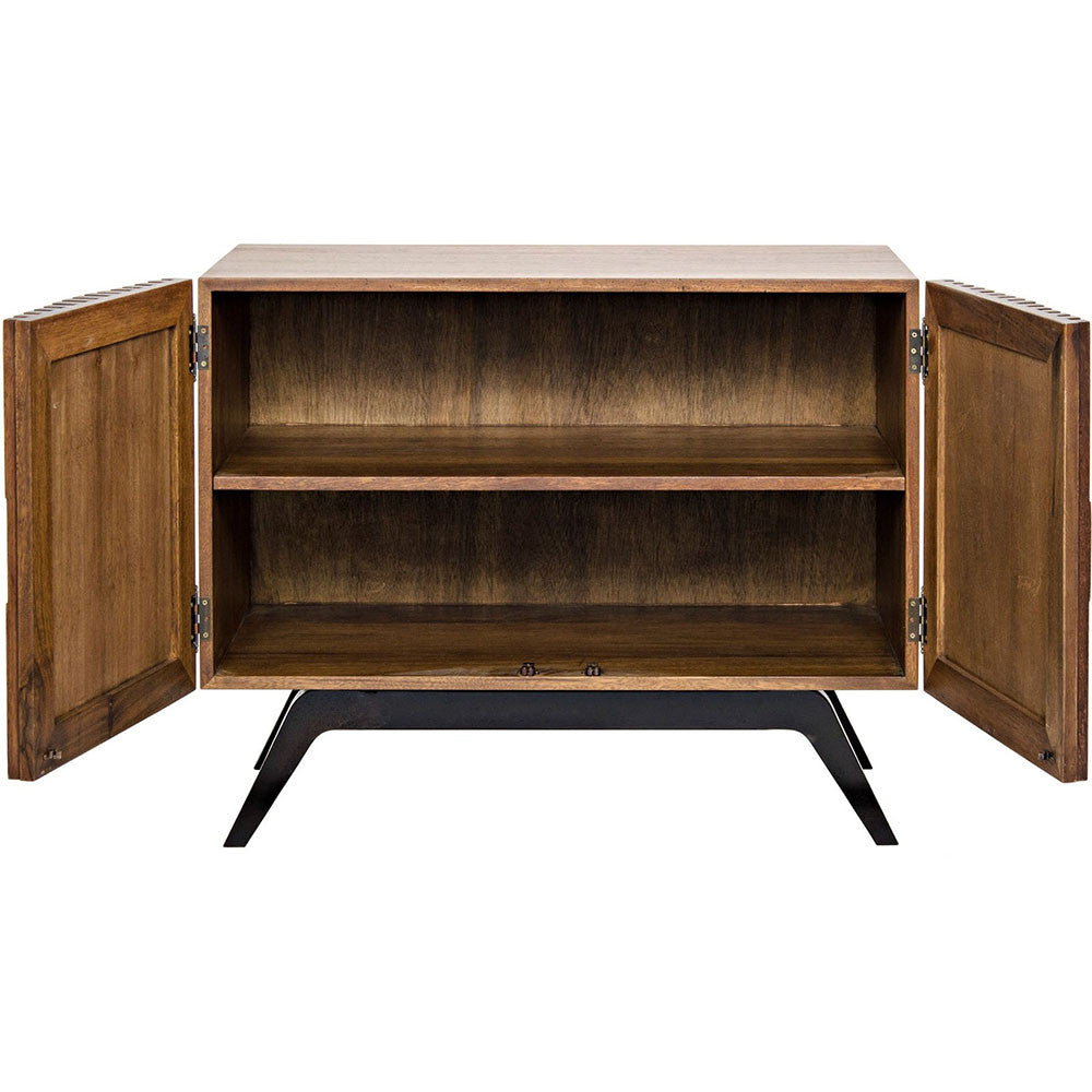 Noir - Illusion Single Sideboard, Walnut and Metal