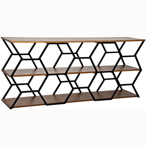 Noir - Tariq Console w/ Metal, Dark Walnut