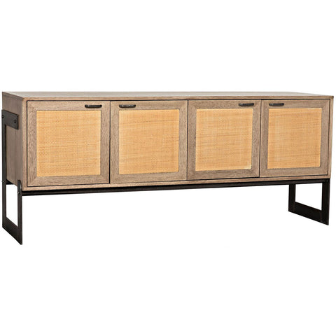 Noir - Naomi Sideboard, Washed Walnut with Rattan