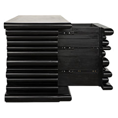 Noir - Kaiser Sideboard 4 Drawer, Hand Rubbed Black