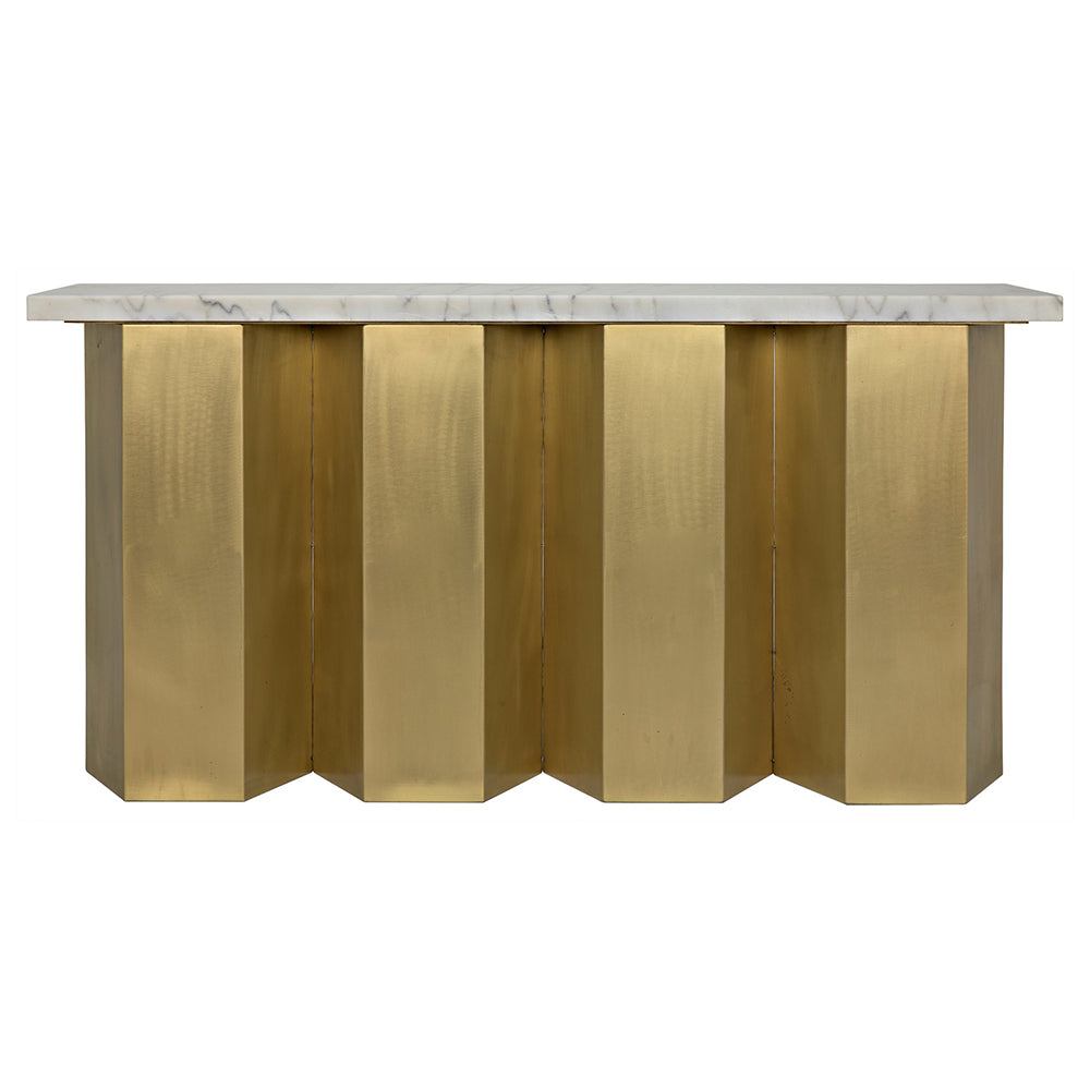 Noir - Shilo Console, Stone, Antique Brass Finish