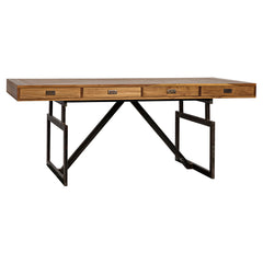 Noir - Maxwell Desk Teak w/Metal Base