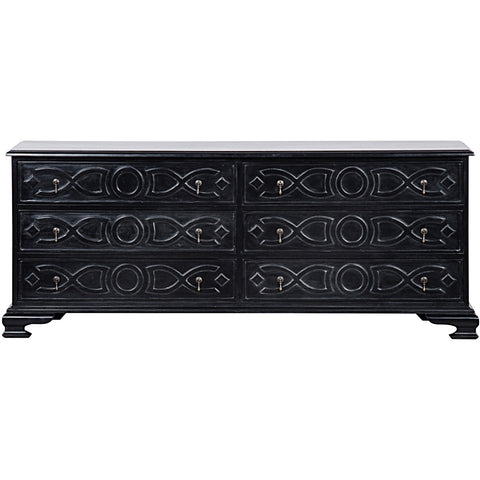 Noir - Sofie 6 Drawer Dresser, Hand Rubbed Black