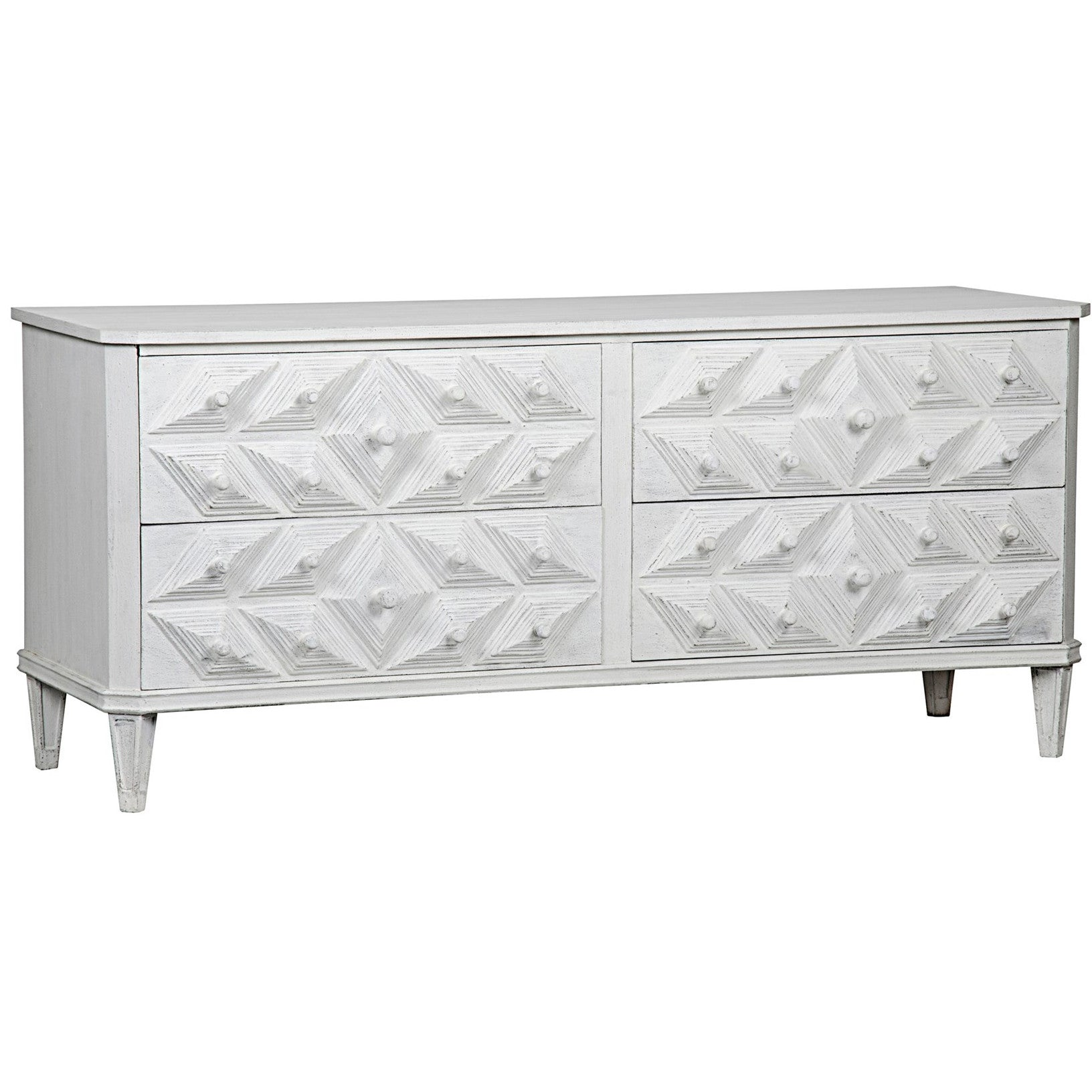 Noir - Giza 4 Drawer Dresser, White Weathered