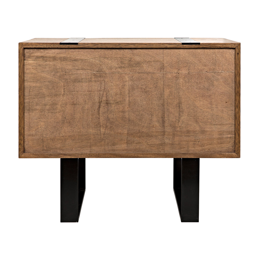 Noir - Black Band 2 Drawer Sideboar, Dark Walnut