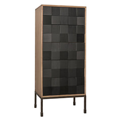 Noir - Bovery Hutch, Washed Walnut & Charcoal Finish