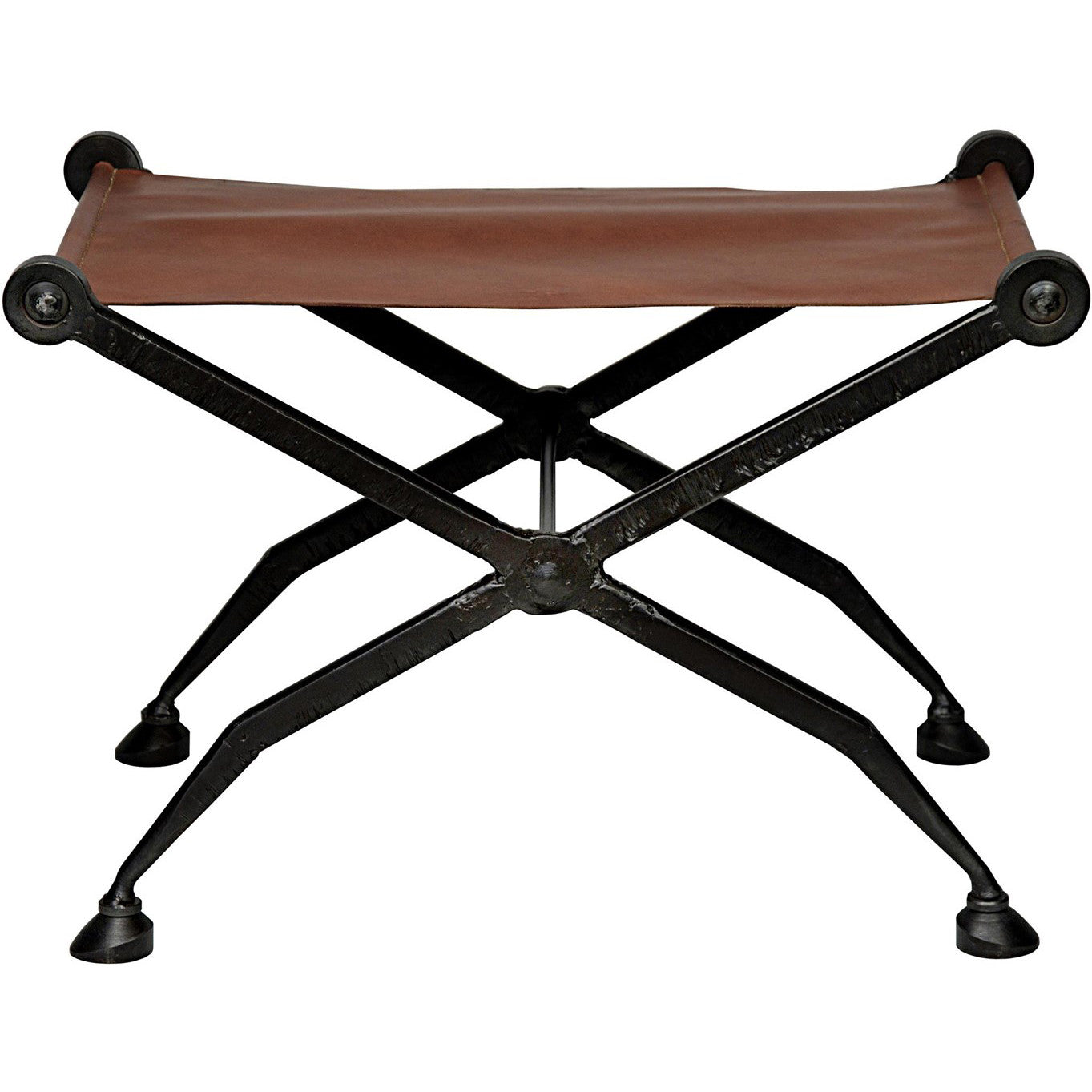 Noir - Cassius Stool W/Cast Iron Base, Leather