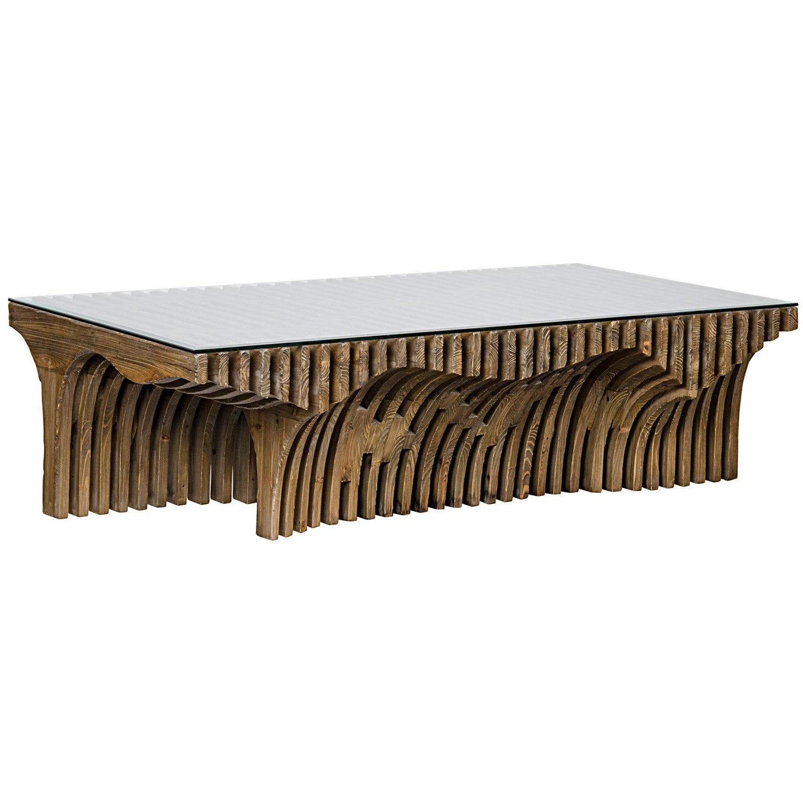 Noir Orpheus Coffee Table W Glass Top Old Wood – LDC Home