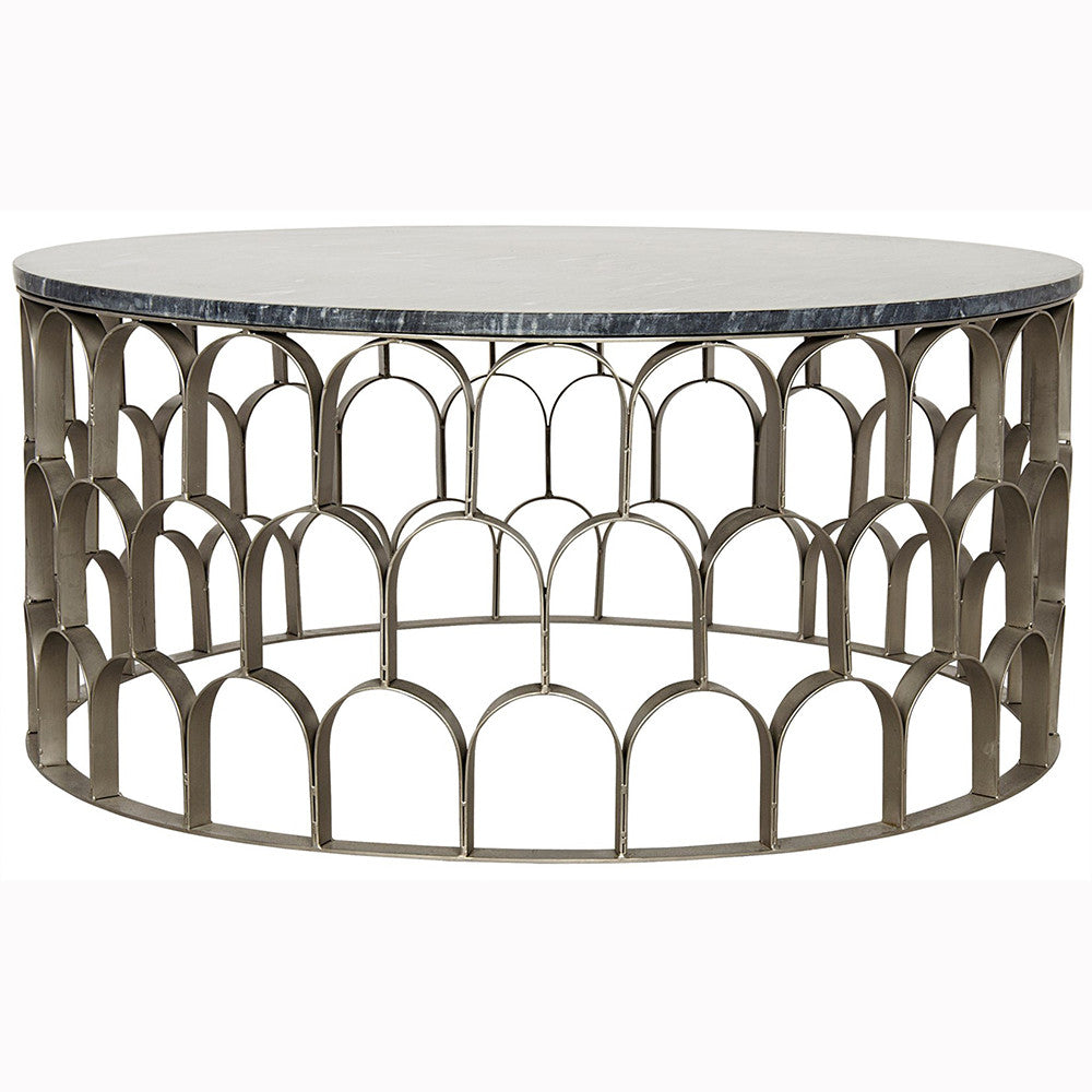Noir - Mina Coffee Table, Black Stone, Antique Silver Finish