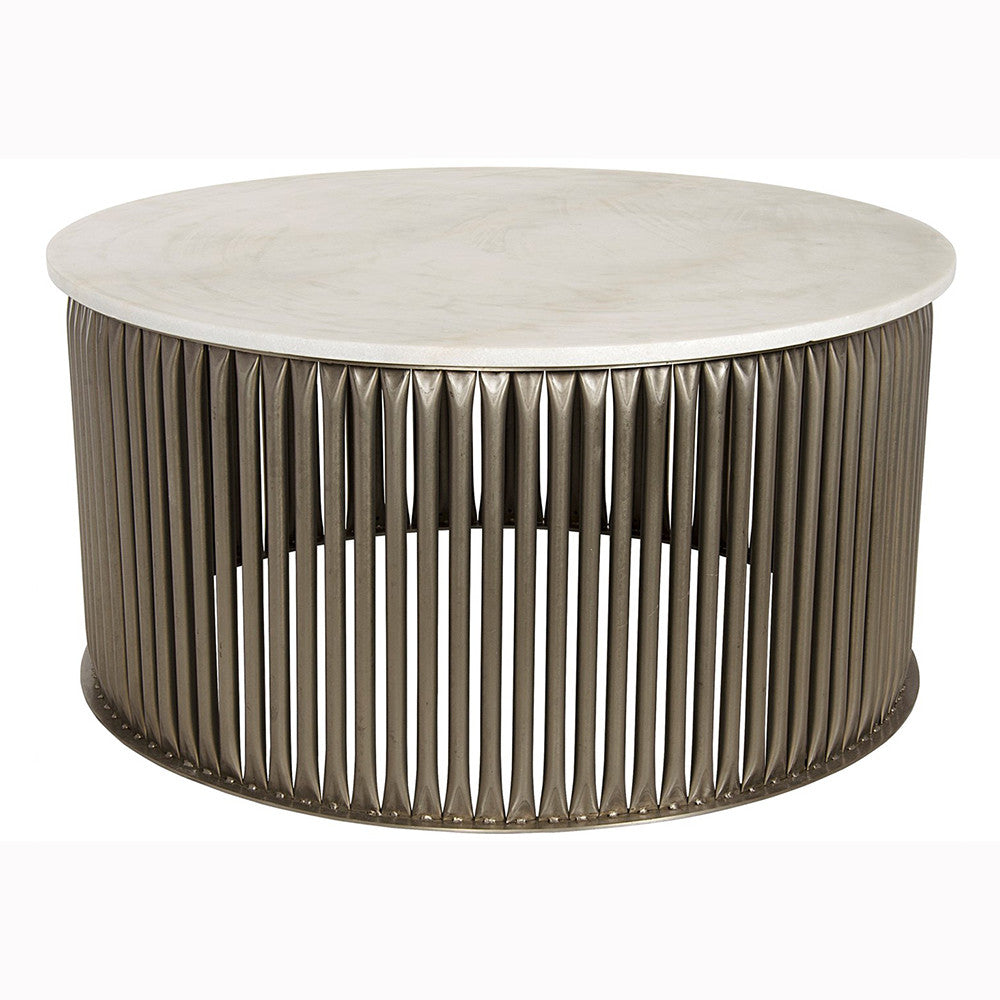 Noir - Lenox Coffee Table, White Stone, Antique Silver Finish