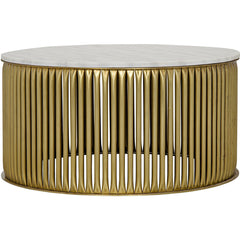 Noir - Lenox Coffee Table, Antique Brass, Metal and Stone