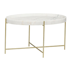 Noir - Che Cocktail Table, Antique Brass, Metal and Stone