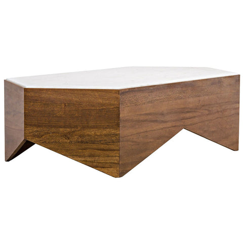 Noir - Amsterdam Coffee Table, Walnut and Quartz