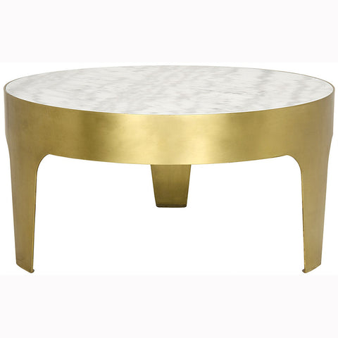 Noir - Cylinder Round Coffee Table, Antique Brass Finish
