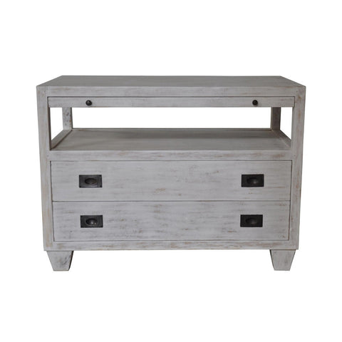 Noir - 2 Drawer Side Table, White Wash