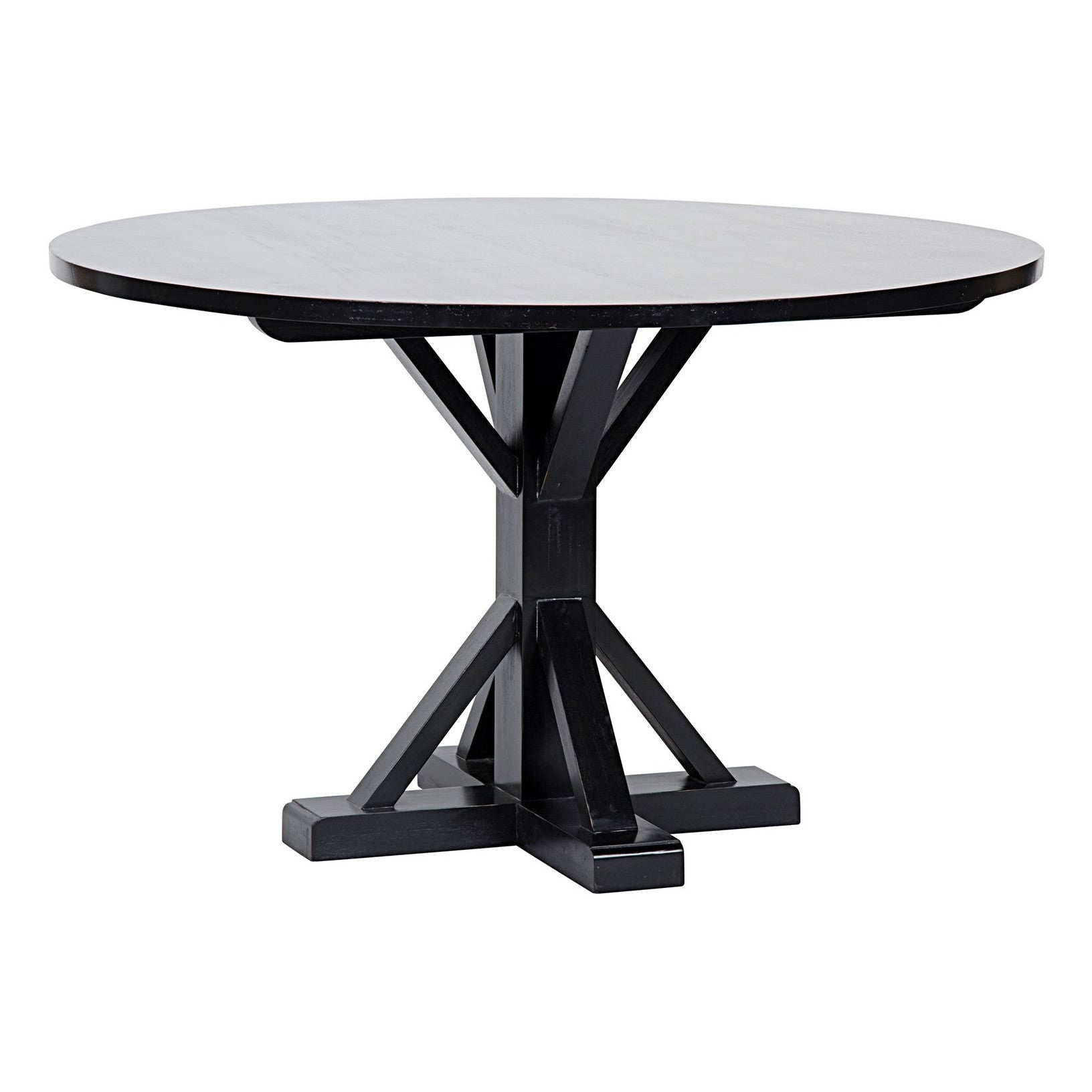 "Noir - 48"" Criss-Cross Round Table, Hand Rubbed Black"