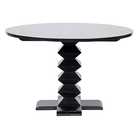 "Noir - 48"" Zig Zag Dining Table, Hand Rubbed Black"