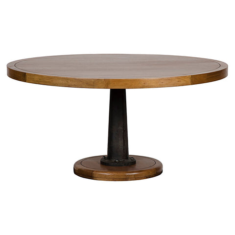 Noir - Yacht Dining Table, Dark Walnut W/Cast Pedestal