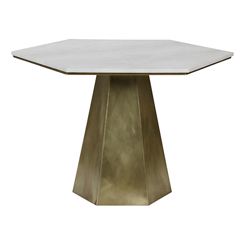 Noir - Demetria Table, Quartz, Antique Brass Finish