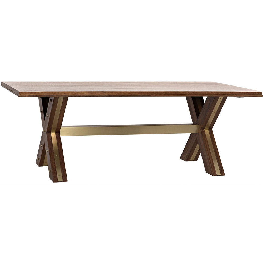 Noir - Millennium Dining Table, Dark Walnut, Walnut with Brass