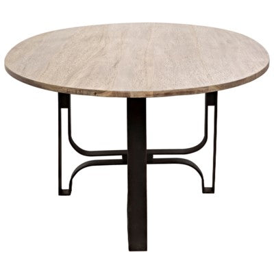 Noir - Adrien Oval Table, Washed Walnut, Walnut and Metal
