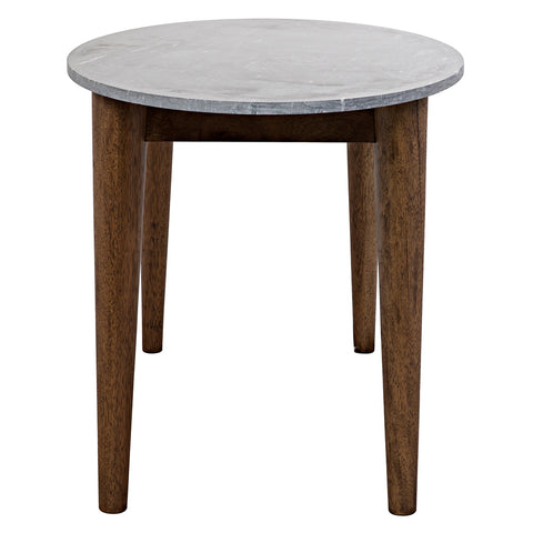 Noir - Surf Oval Dining Table, Dark Walnut w/Stone Top