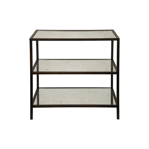 Noir - 3 Tier Side Table W/Antique Glass, Natural