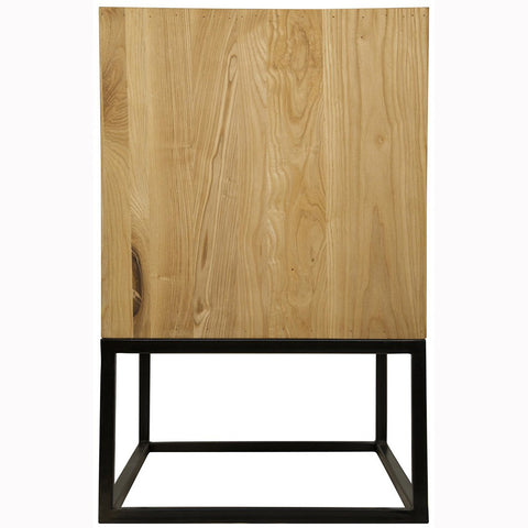 Noir - Garland Side Table, Elm W/Metal