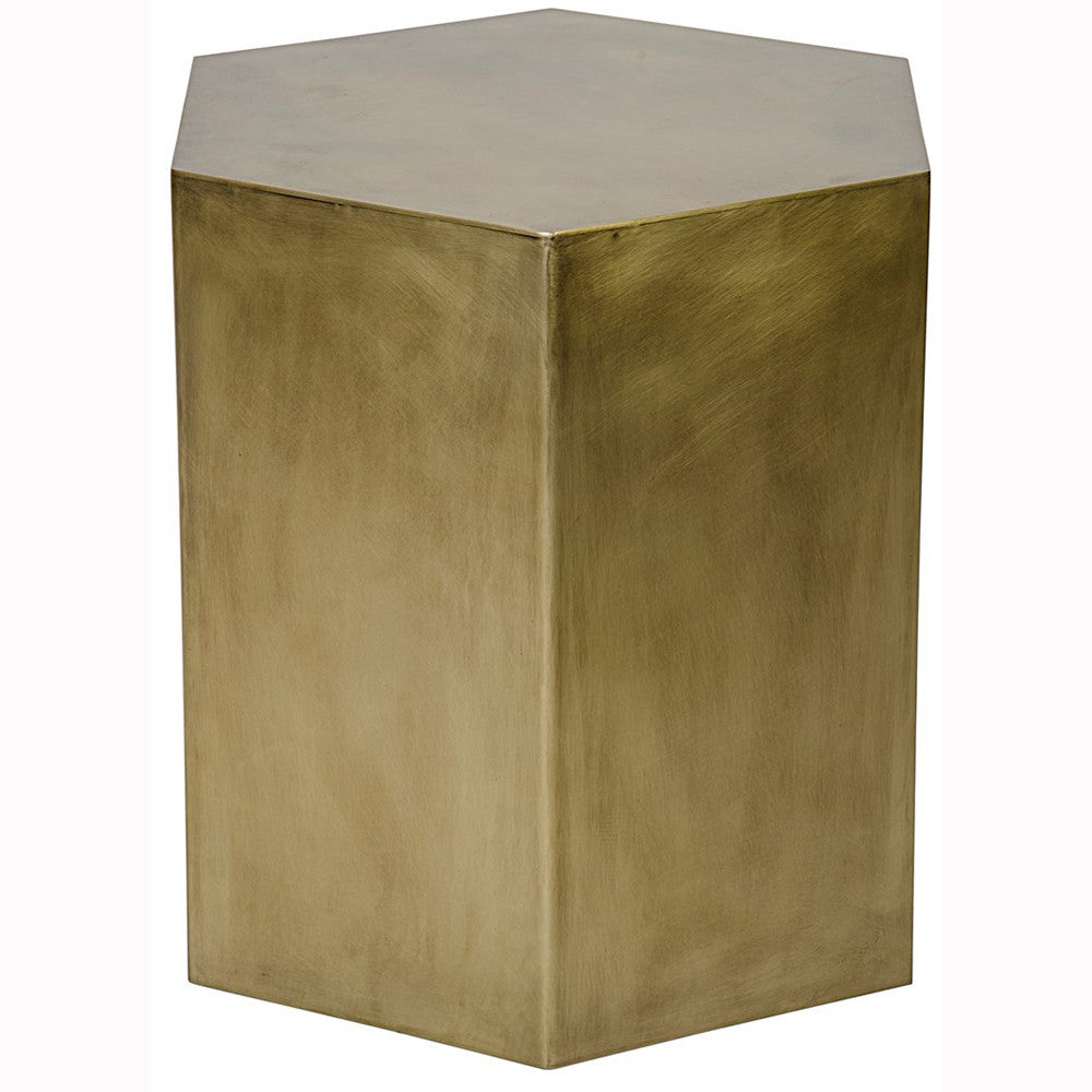 Noir - Aria Side Table A, Metal/ Antique Brass Finish