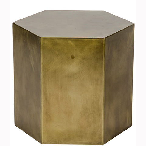 Noir - Aria Side Table B, Metal/ Antique Brass Finish