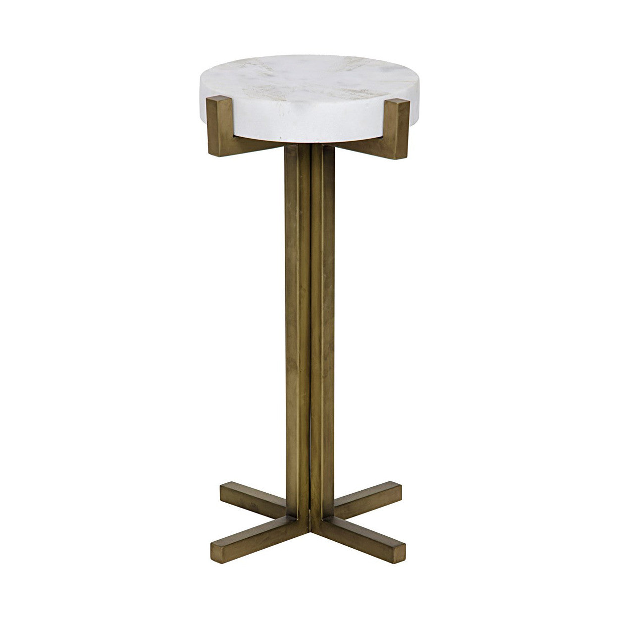 Noir - Sardo Side Table, Metal And Quartz