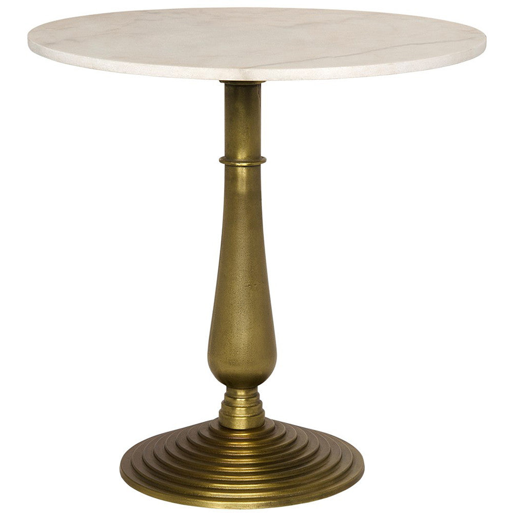 Noir - Alida Side Table, Cast Iron and Stone, Gold Finish