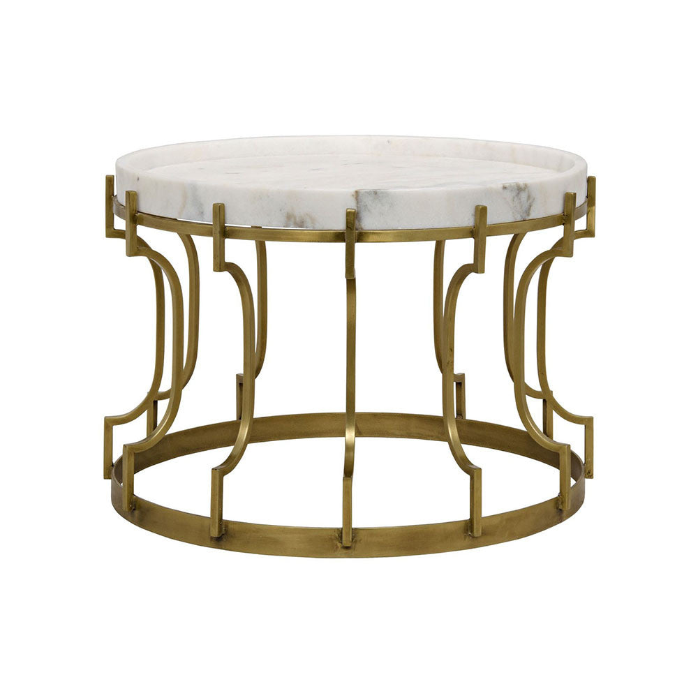 Noir Corium Side Table Antique Brass Metal And Quartz LDC Home - Brushed brass side table
