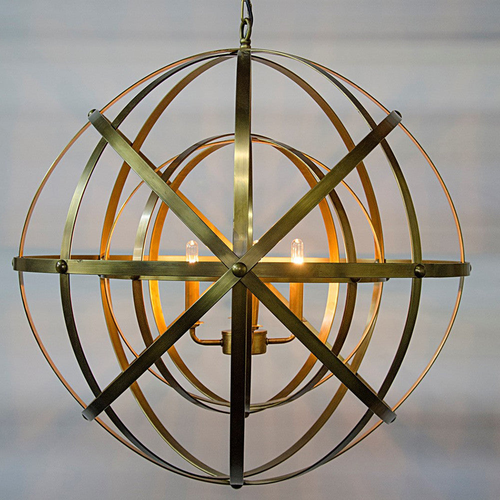 Noir - Alchemy Chandelier, Metal w/Brass Finish