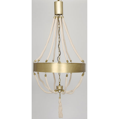 Noir - Alec Chandelier, Antique Brass, Metal and Rope