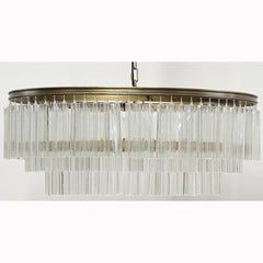 Noir - Oval Deco Chandelier, Antique Brass