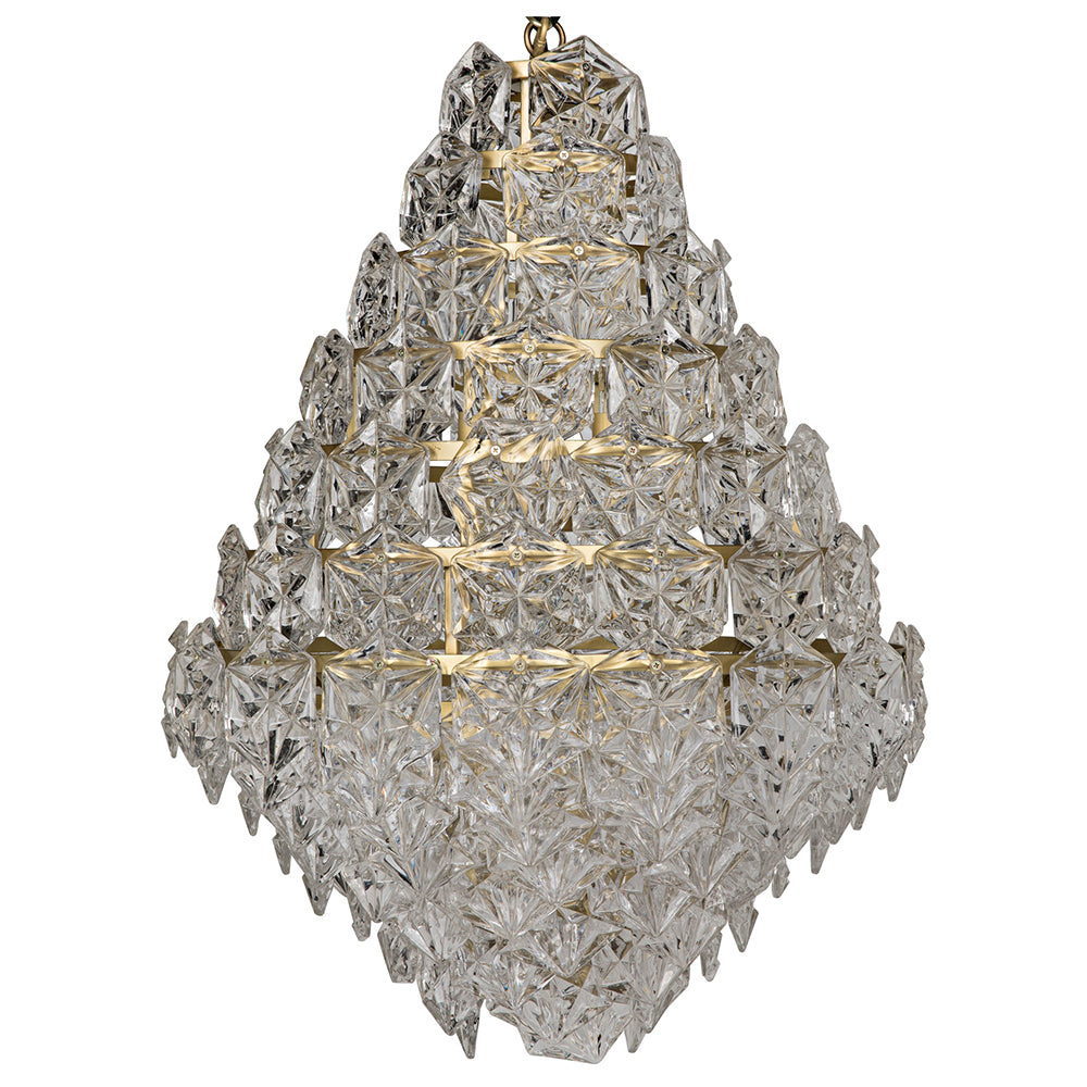 Noir - Neive Chandelier, Large, Metal w/Brass Finish