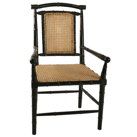 Noir - Colonial Bamboo Arm Chair w/ Caning, Hand Rubbed Black