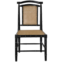 Noir - Colonial Bamboo Chair w/ Carving, Hand Rubbed Black
