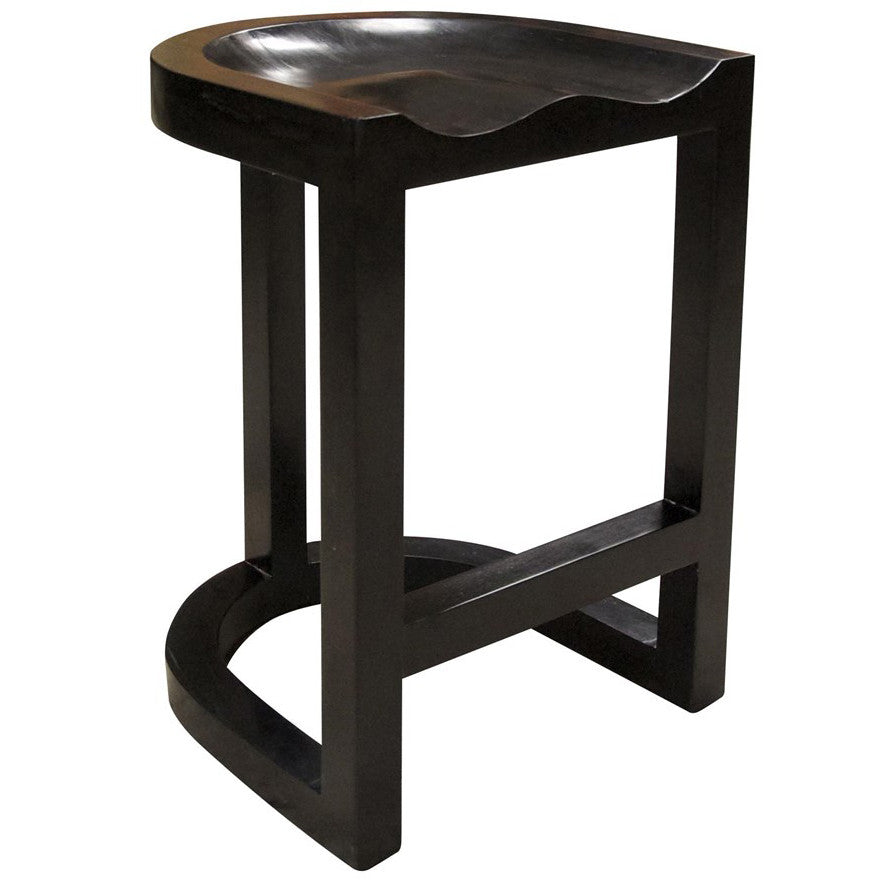 Noir   Saddle Counter Stool, Hand Rubbed Black