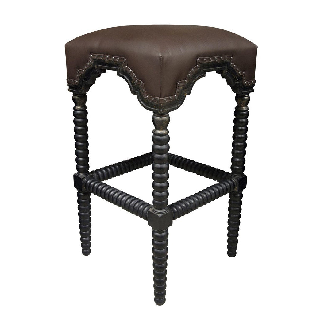 Noir - Abacus Barstool, Hand Rubbed Black w/ Gold Trim