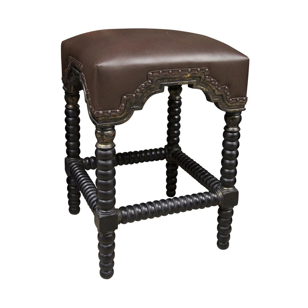 Noir - Abacus Counter Stool, Hand Rubbed Black w/ Gold Trim