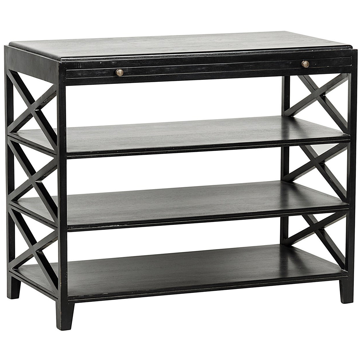 Noir - Sutton Criss-Cross Side Table, Hand Rubbed Black