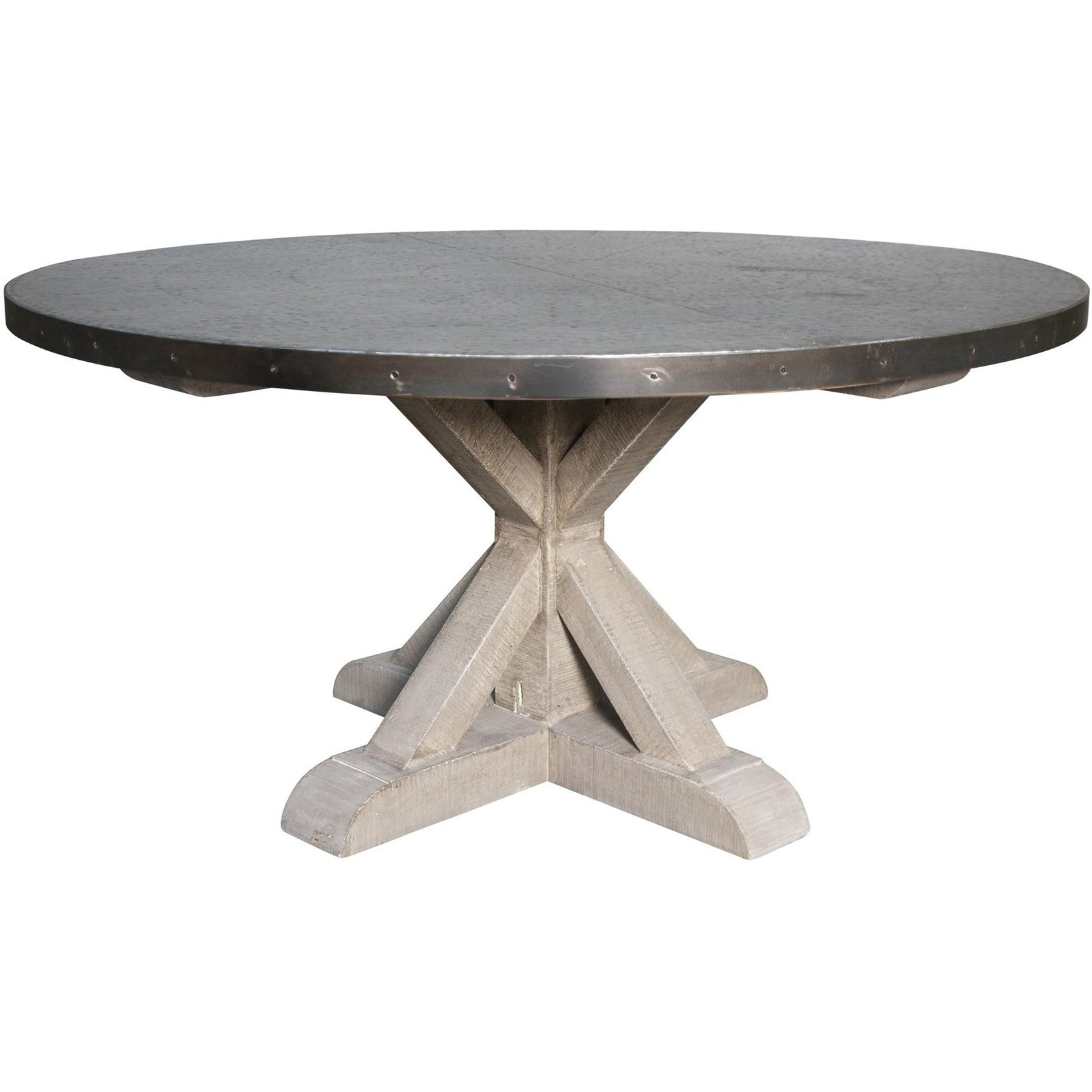 Noir Zinc Top Rd Table w Wooden X Base Vintage – LDC Home