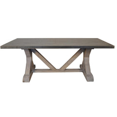 Noir - X Base Table w/ Zinc Top, Vintage