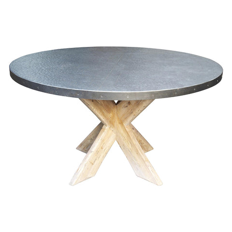 "Noir - 54"" Austin Table w/ Zinc Top"