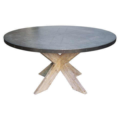 "Noir - 60"" Austin Table w/ Zinc Top"