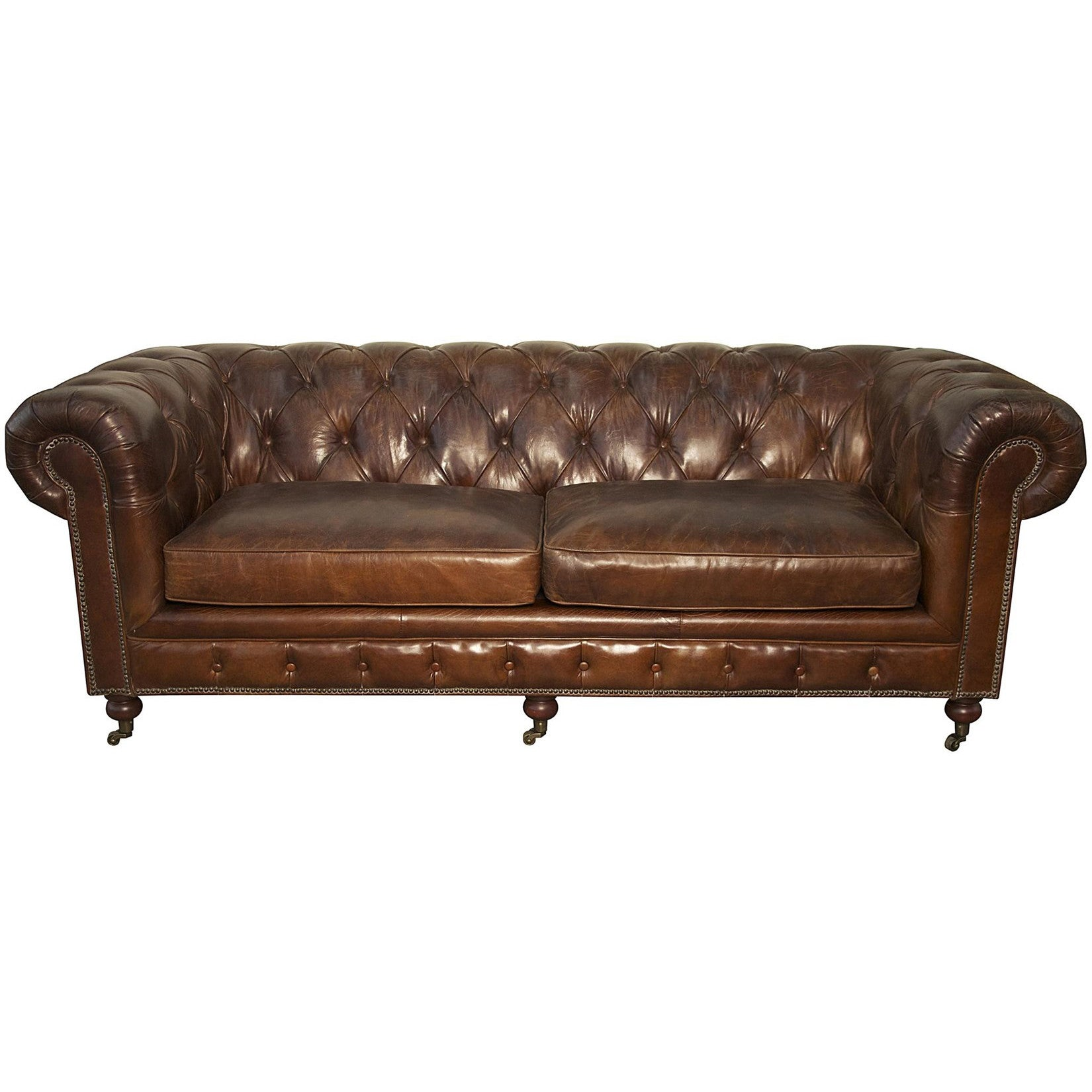 Noir 3 Seater Tufted Sofa Brown Vintage Leather Ldc Home